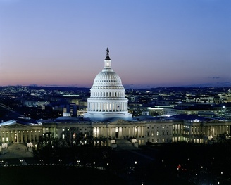 aerial view of Washington DC capital building